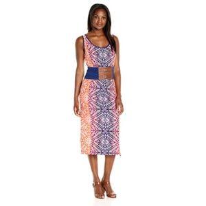 Womens Tank Scoop Neck Mid Dress Self Fabric Belt